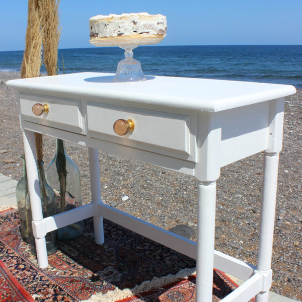 Display Table with Glass Vintage Knobs