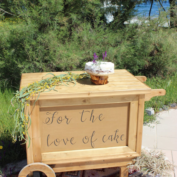 Handcrafted wooden cart - WITH SIGN
