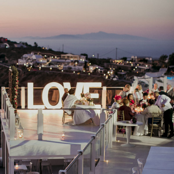 Large, light up LOVE letters