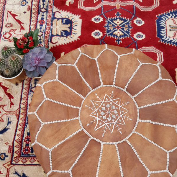 Authentic, leather Moroccan cushions