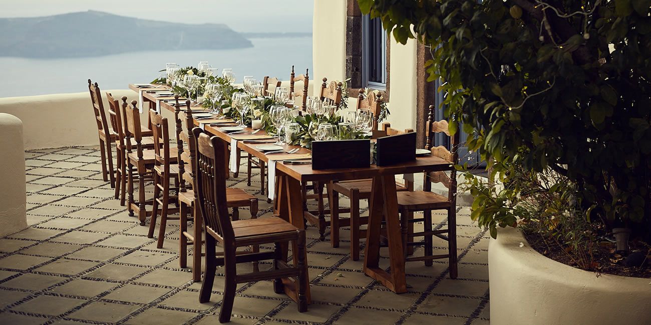 Wooden Tables & Chairs by Weddings & Whimsy Santorini